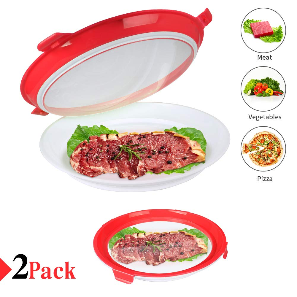 Food Preservation Tray Vacuum Seal, Healthy Fresh Tray Food Storage Container With Elastic Lids, Kitchen Refrigerator Storage Container Set Reusable for Long Food Freshness Preservation 2Pcs (Red)