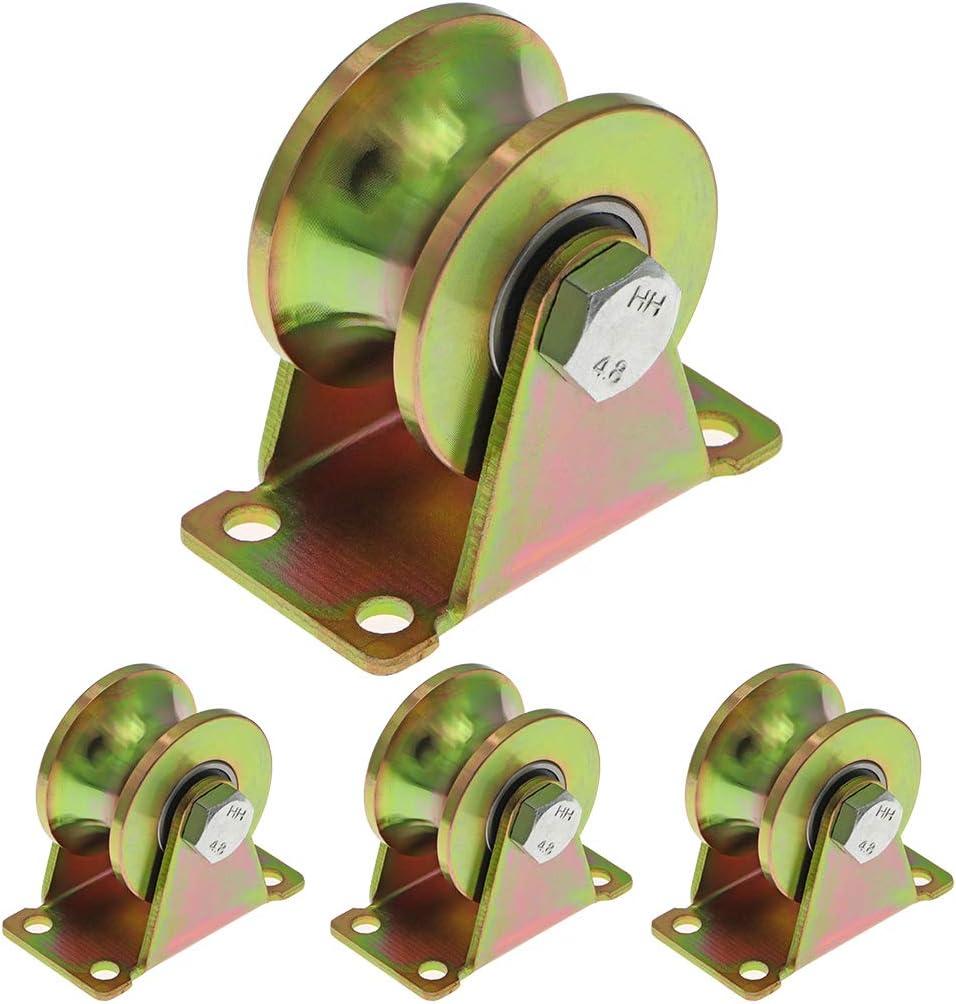 Skelang U Groove - Rueda de puerta (50 mm, ruedas rígidas, rodillo para puerta corredera para pista invertida, máquina industrial, puerta rodante, capacidad de carga 300 kg por rueda, paquete de 4
