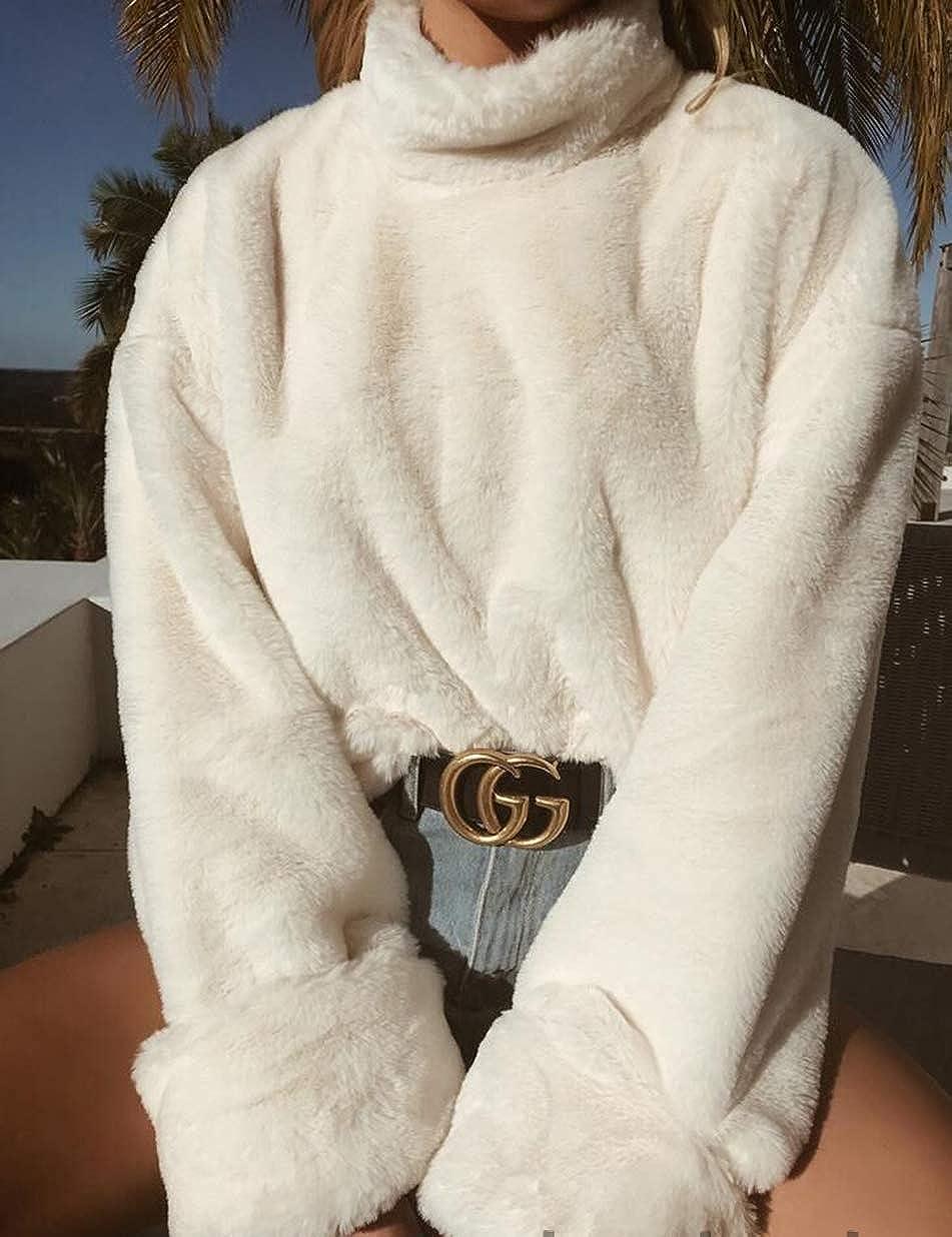 Sweat Col Montant Femme Pull à Effet Fausse Fourrure A Manches Longues et Larges Luxueux Sweat Shirts Vestes Over Size Epais Chaud pour Automne et