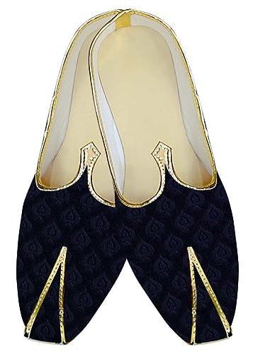 Mens Navy Blue Wedding Shoes Leaf Pattern MJ13133