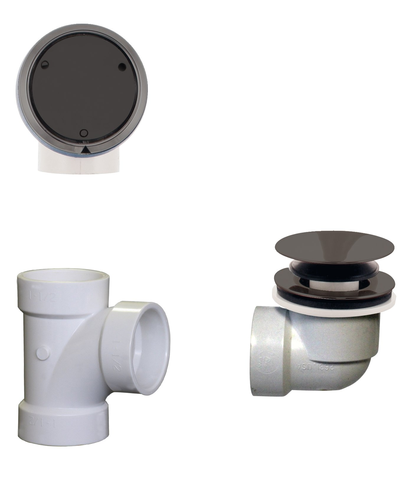 Westbrass Deep Soak Closing Overflow Plumber's Pack with Sch. 40 PVC Elbows and Tee, with an ADA aprroved Tip-Toe Drain, Oil Rubbed Bronze, D593CHPM-12
