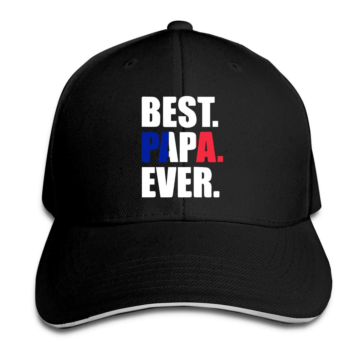 Best Papa Ever France Flag Outdoor Snapback Sandwich Cap Adjustable Baseball Hat Dad Hat