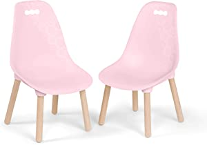 B. spaces by Battat Kids Chair Set – 2 Chairs – Pink – Trendy Furniture for Toddlers and Kids – Natural Wooden Legs – Kid Century Modern – 3 Years +, BX2040C1Z