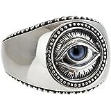 ジナブリング (JINA BRING) リング 指輪 リアル義眼 プロビデンスの目 ドールアイ ブルーアイ 鏡面 ミル打ち フリーメイソン シルバー925