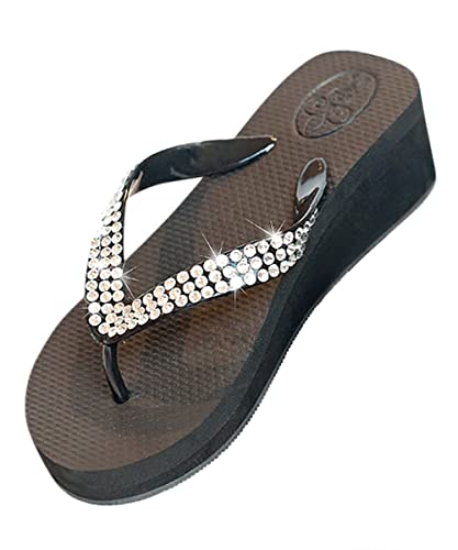 9e08259d1 Glitz Flips Black Wedge Flip Flops with Clear Swarovski Crystals (6)