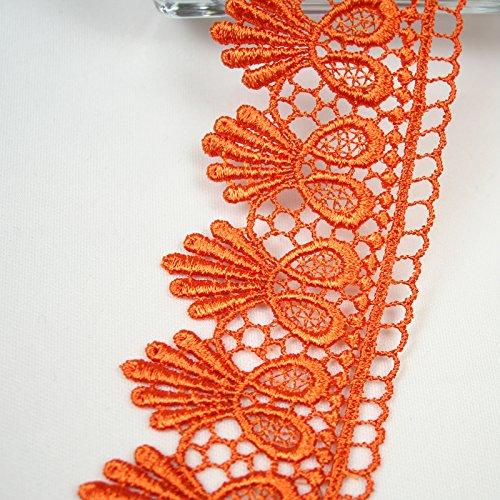 Altotux 1.75 13 Colors Embroidered Floral Venice Lace Trim Guipure By 2 Yards (Orange)