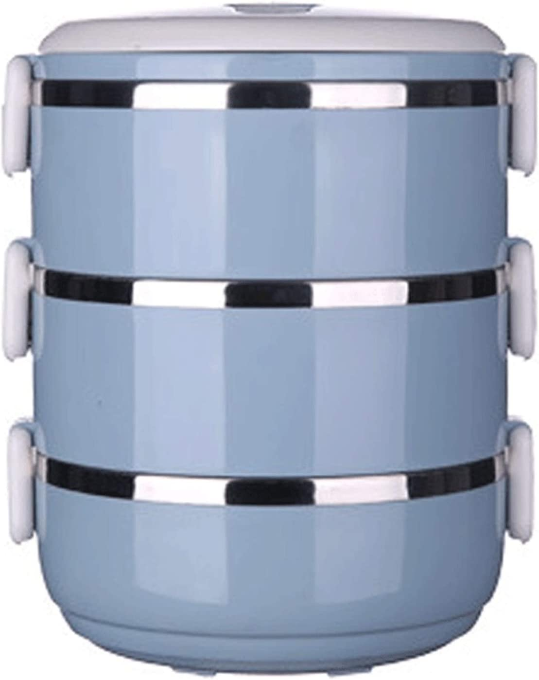 Lunch Box Caja de acero inoxidable sellada doble redonda para estudiantes (color: azul)