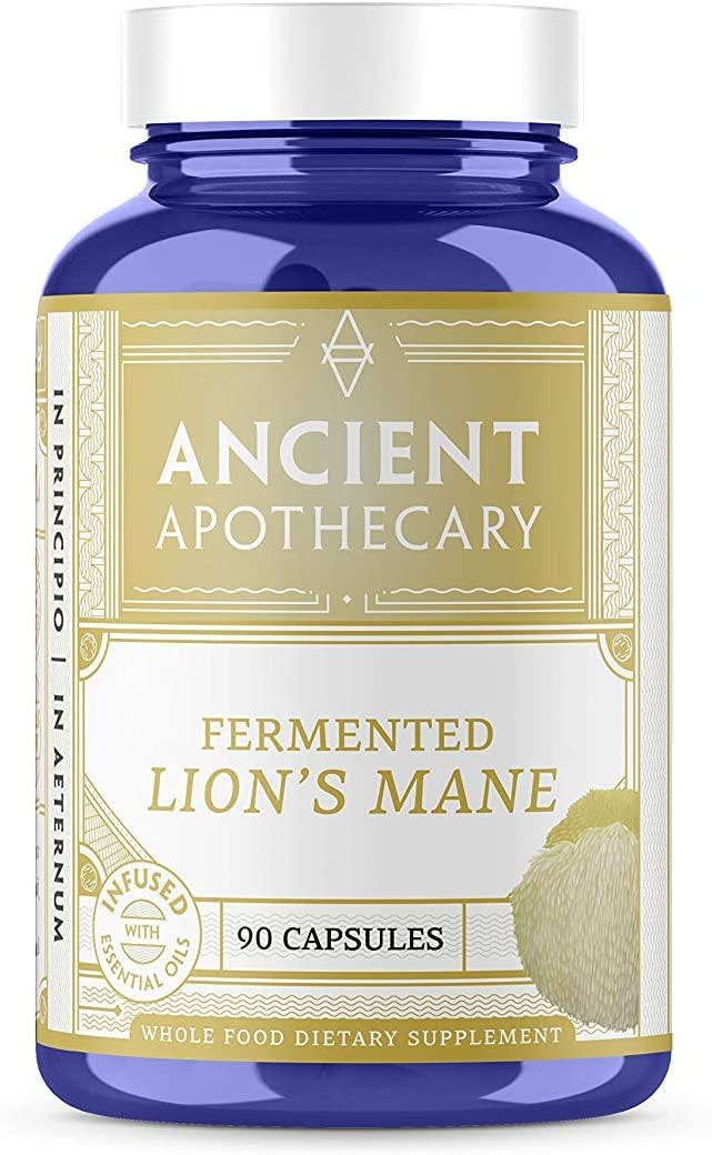 Ancient Apothecary Fermented Lion s Mane Mushroom Supplement, 90 Capsules Infused with Organic Essential Oils, Ashwagandha Extract and Digestive Bitters Pack of 3