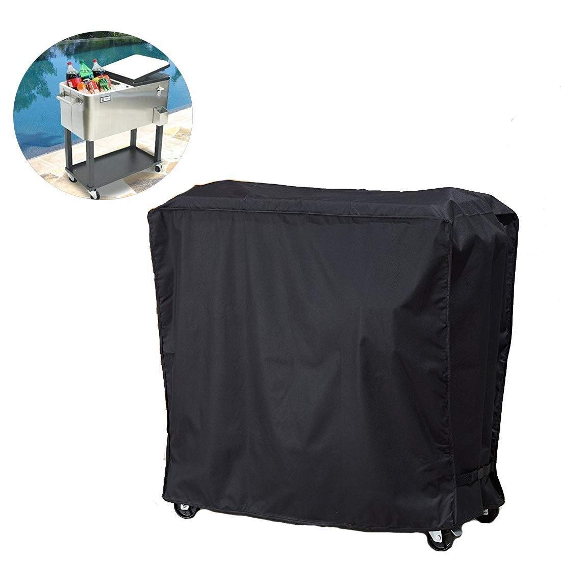 Heavy Duty UV Resistant Protector Cover Fit for Patio Ice Chest Party Bar Beverage Cart and Outdoors Rolling Cooler On Wheels Cooler Cart Cover,Waterproof 80Qt Rolling Cooler Cart Cover Black