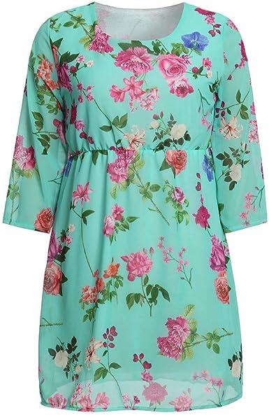 PinkLu Premama Vestido Ropa de Vestir Estampada Floral del ...
