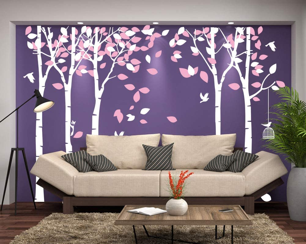 """Amaonm 104""""x71"""" Giant Large Jungle 5 White Trees Wall Decals Pink Leaves and Fly Birds Wallpaper Wall Decor DIY Vinyl Wall Stickers for Kids Bedroom Living Room Nursery Rooms Offices Walls (Pink)"""