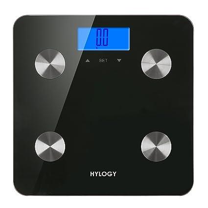 Báscula de análisis corporal, hylogy báscula de baño digital de grasa corporal, con tecnología