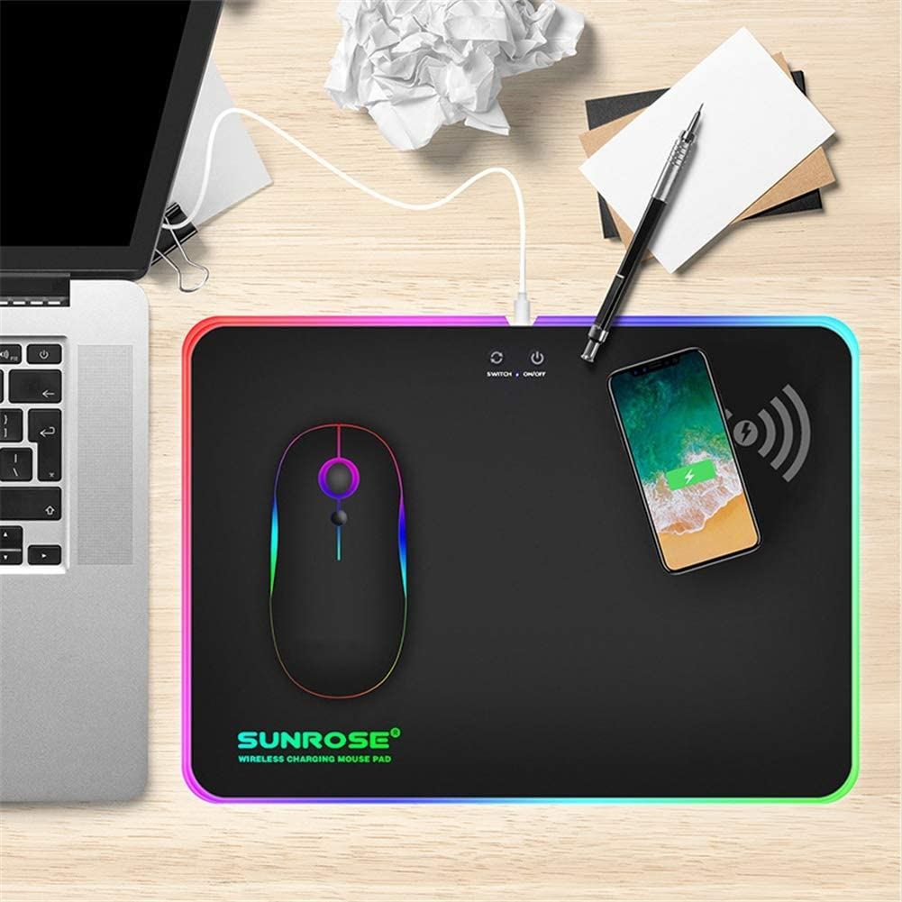 Aceyyk 10W Wireless Charger Extended Mouse Pad Soft RGB Gaming Mat Wireless Charging Large Mousepad Non Slip Rubber Base 10.1x9.2in
