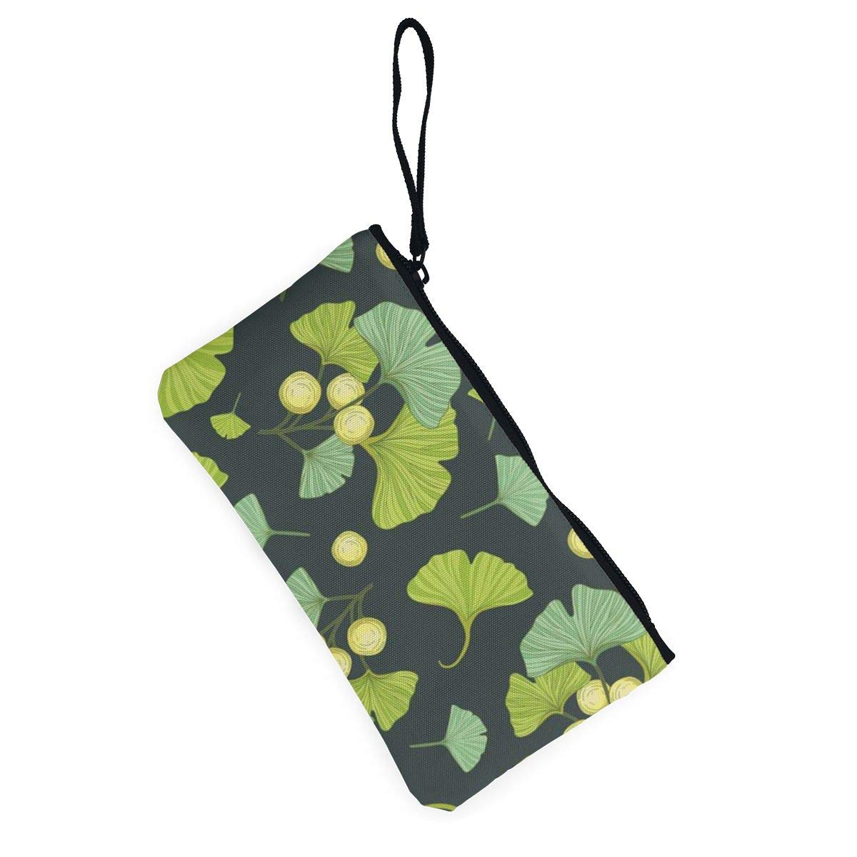 Canvas Cash Coin Purse,Ginkgo Biloba Print Make Up Bag Zipper Small Purse Wallets
