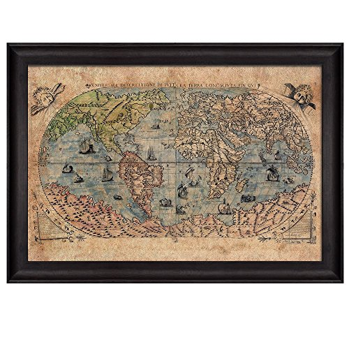 wall26 antique world map in color framed art prints home decor 16x24 inches - World Map Framed Art