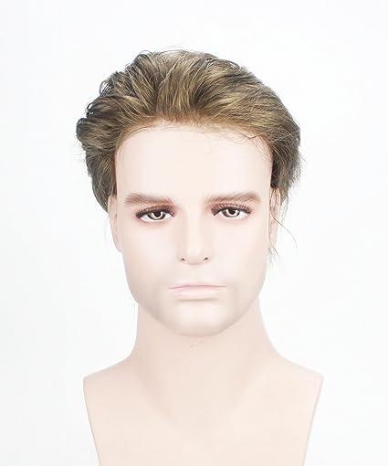 Lordhair 100% Verdadero Color de Pelo Humano # 7 Supper Piel Fina Hombres Toupee Hair