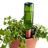 Go Bottle Stake - Set of 4pcs Plant Waterer Spikes - Vacation Watering Stakes, Works with Wine Bottles - Ceramic Terracotta Automatic Drip Irrigation System for Garden, Home, Indoor or Outdoor Plants