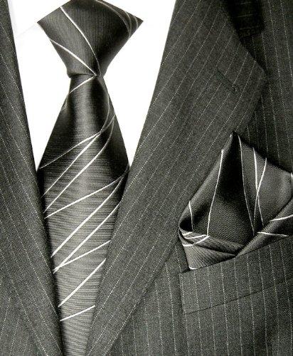 LORENZO CANA Luxury Pure Silk Woven Neck Tie Hanky Set Charcoal Gray 8418701