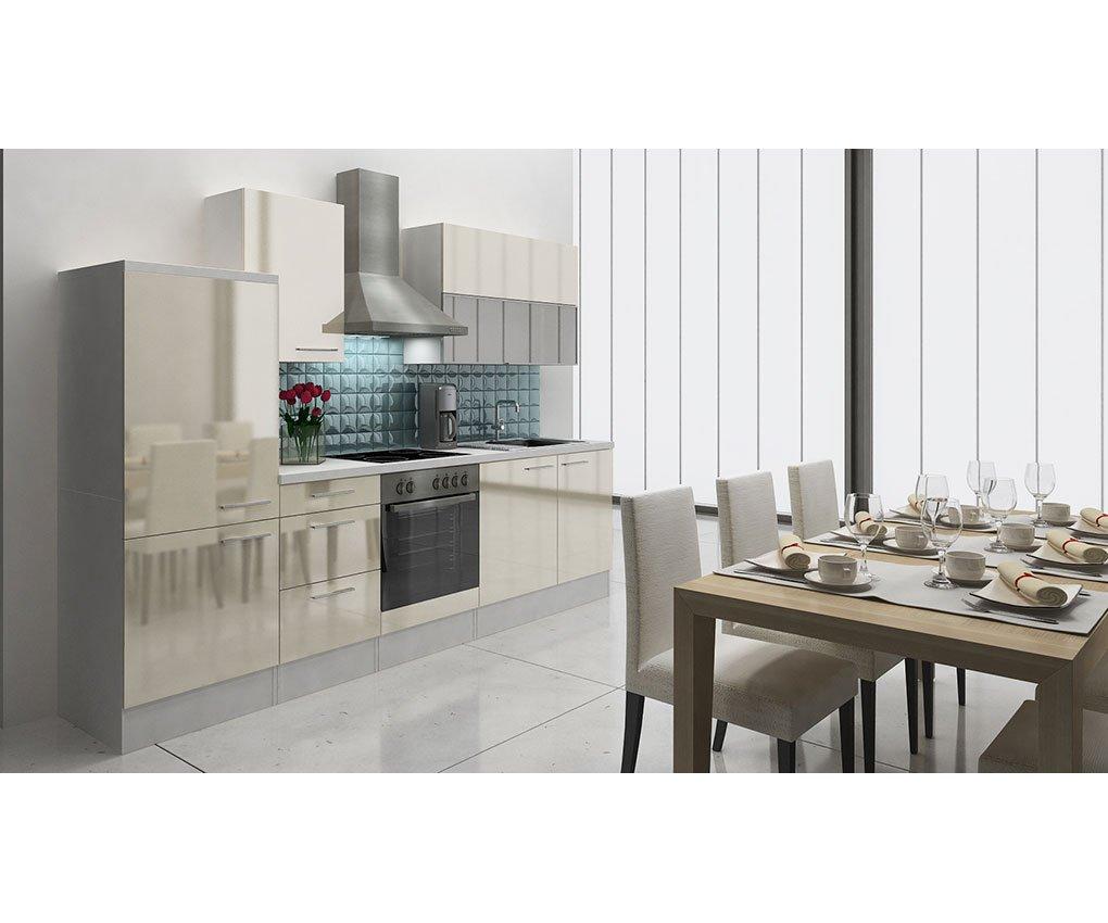 respekta Küchenleerblock 280 cm Weiß Vanille Hochglanz APL Weiß