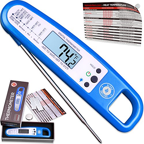 Instant Read Thermometer For Meat & Cooking. SOLD IN ELEGANT GIFT BOX. Best Backlit Ultra Fast Digital BBQ Food Probe For Grill & Kitchen. Includes Internal Barbecue Meat Temperature Guide by Alpha Grillers