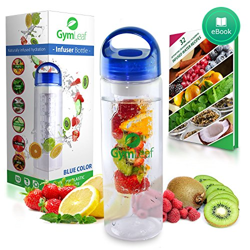 Fruit Infused Water Bottle (Blue) 24 Ounce BPA-free non-slip plastic + Free Recipe Ebook (Hello Kitty Glass Pitcher compare prices)