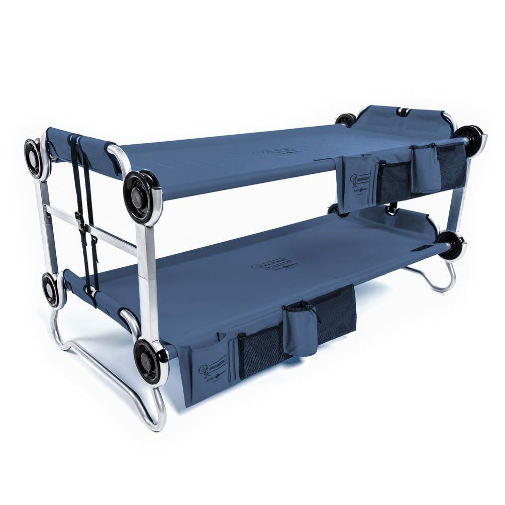 Disc-O-Bed Youth Kid-O-Bunk Benchable Camping Cot with Organizers, Navy Blue by Disc-O-Bed