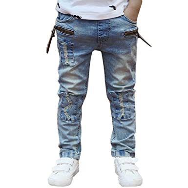 3ddc9a3fe7254 Domybest Big Boys Jeans Kids Trousers Denim Jeans Cowboy Designers Jeans  Size 1-6 Y for Spring-Autumn  Amazon.co.uk  Baby