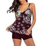Eternatastic Women's Retro Paisley Printed Tankini Swimsuit with Boyshorts