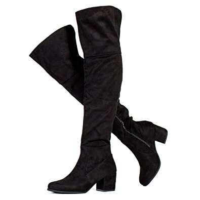 0dfedb3c11b7 RF ROOM OF FASHION Low Block Heel Pullon Over The Knee Boots (Medium Calf)