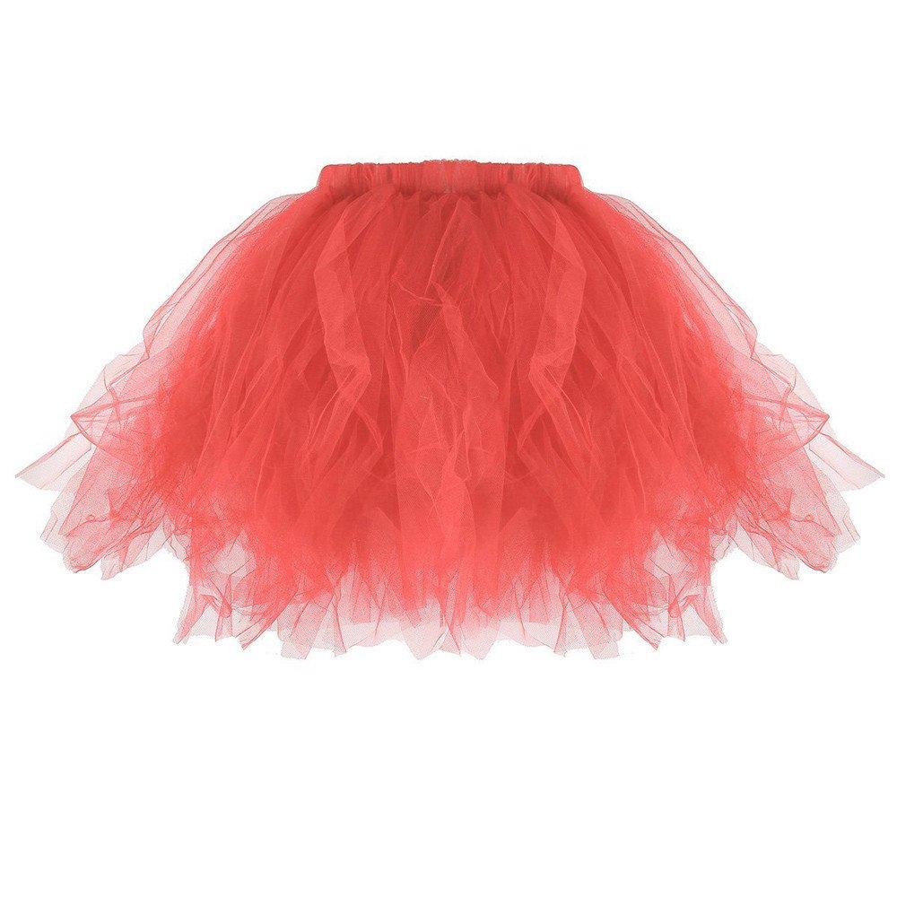 Women Pleated Short Skirt, Casual Pleated Tutu Adult Tutu Skirt Pleated Mini Party Skirts (Watermelon, Fre Size)