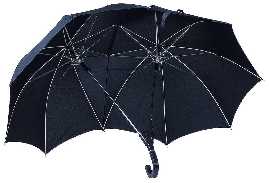 Regenschirm imLiebespaar Design - Schwarz ca. 120 cm Durchmesser - Doppelschirm als Geschenkidee - Grinscard A0236