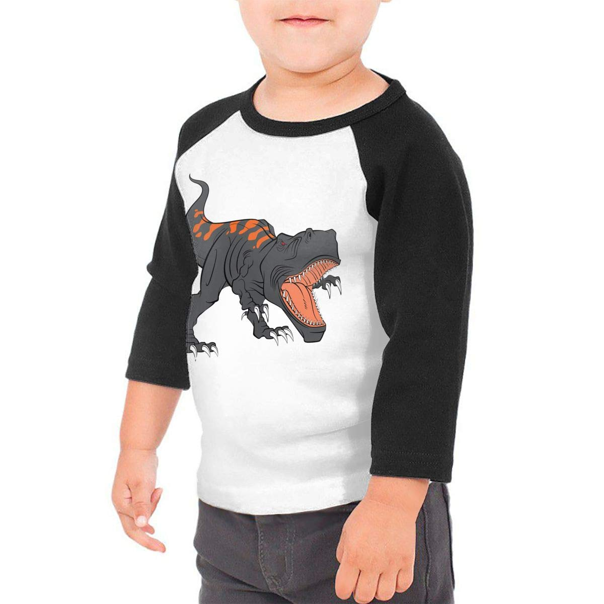 Kid's Boys&girls The Fierce Dinosaur 3/4 Sleeve Raglan Tee Shirt For 2-6T Fillmore-M