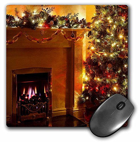 Price comparison product image 3dRose LLC 8 x 8 x 0.25 Inches Mouse Pad, Beautiful Christmas Tree Lights With A Fire In The Fireplace (mp_164737_1)