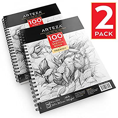 """Arteza 9""""X12"""" Sketch Book 2 Pack, 200 Pages Total, Two Spiral Bound Artist Sketch Pad, 100 Sheets Each, Durable Acid Free Drawing Paper (68 lb./100gsm), Ideal for Kids & Adults, Bright White"""