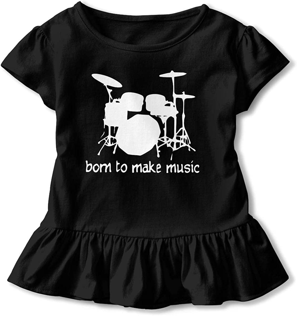 Not Available Drummer Shirt Baby Girls Flounced Casual Basic Shirt for 2-6 Years Old Baby