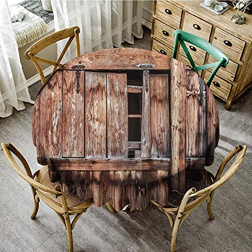 DONEECKL Antifouling Tablecloth Rustic Abandoned Damaged Oak Barn Door with Iron Hinges and Lateral Cracks Knock Theme Great for Buffet Table D59 Pale Rosewood