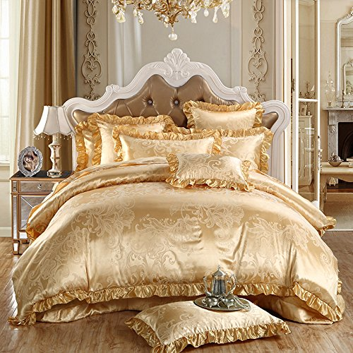 TheFit Paisley Textile Bedding for Young Adult W148 Gold Europe Duvet Cover Set 100% Silk and Cotton, Queen King Set, 4 Pieces (King)