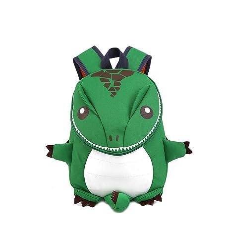 Amazon.com   Baby Kid 3D Cartoon Dinosaur Children School Bag Cute Toddler  Cartoon Animal Backpack Gift for 1-5 Y(Green)   Kids  Backpacks 076fe5db87