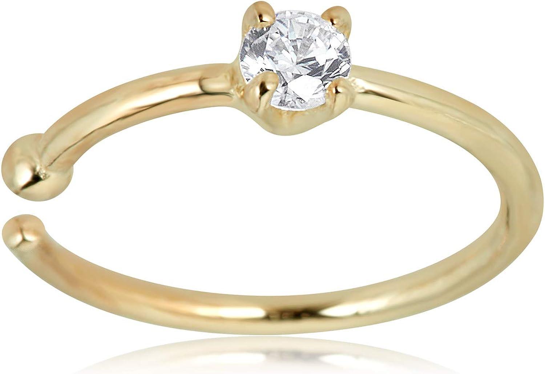 Amazon Com Avora 14k Yellow Gold 2mm Simulated Diamond Cz Nose Ring Hoop 20 Gauge Jewelry
