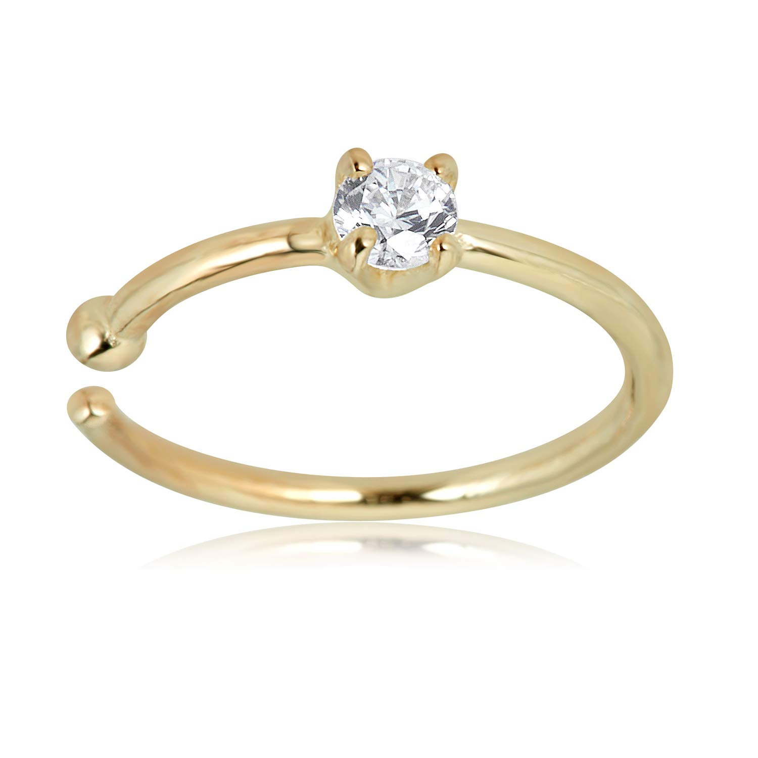 AVORA 14K Yellow Gold 2mm Simulated Diamond CZ Nose Hoop Ring - 20 Gauge by AVORA (Image #1)
