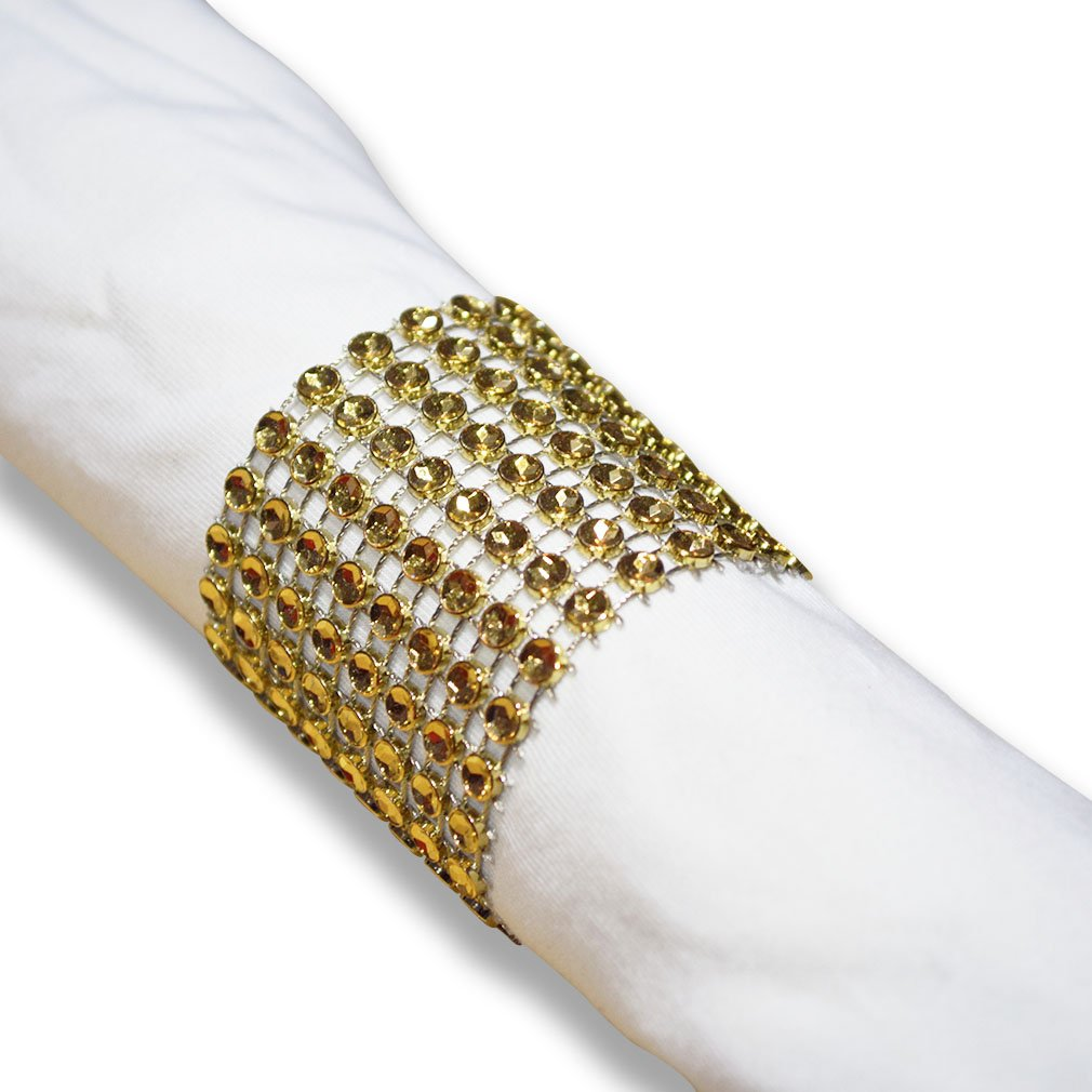 SKY CANDYBAR Napkin Rings Rhinestone Napkin Rings Adornment for Wedding Party (100 PCS, Gold)