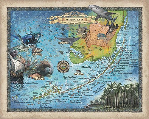 Great River Arts Scuba Dives and Beaches of The Florida Keys Scuba Diver Gift Map Wall Art Print Vintage(11x14 Print, Scuba-Dives-Beaches-Florida-Keys-1)