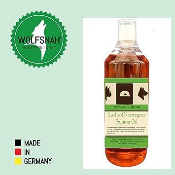 Wolfsnah Aceite de salmón Noruego salmón Oil Perro, Gato Aceite de alimentación: Amazon.es: Productos para mascotas