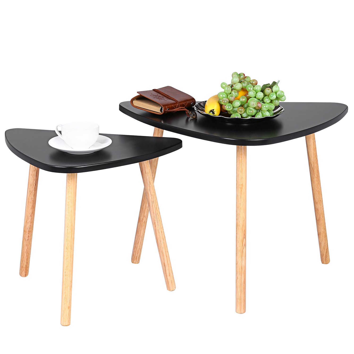 Benlet Black Mini Nesting Sofa End Slide Table, Over The Couch Stacking Coffee Table Set of 2, Modern Furniture Decor (Set 2 Table)