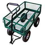 Yardeen Laguna Heavy Duty Steel Wagon Cart Outdoor Large Garden Trolley Load Capacity 400LB Color Green