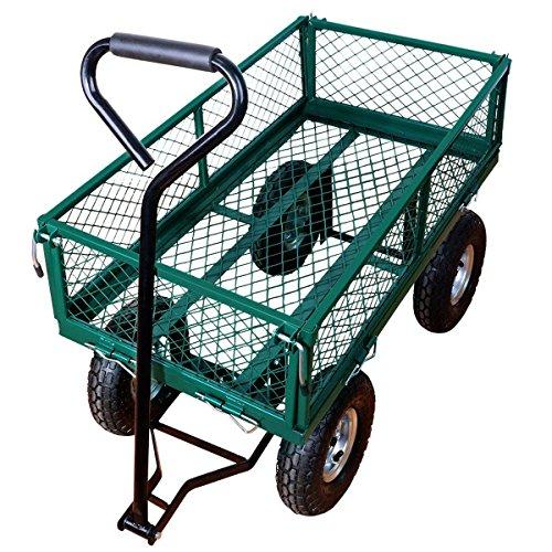 Yardeen Laguna Heavy Duty Steel Wagon Cart Outdoor Large Garden Trolley Load Capacity 400LB Color Green by Yardeen