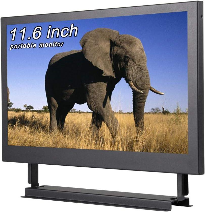 Monitor portátil de 11.6 Pulgadas Pantalla de visualización 1366x768, con Puerto HDMI VGA BNC AV USB, para cámara de Respaldo automático PC Cámara de TV Raspberry Pi Window 7 8 10 OS,
