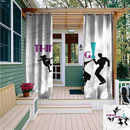Beihai1Sun Curtains for Bedroom,1950s Dancers Oldies Silhouettes,Waterproof Patio Door Panel,W84x96L