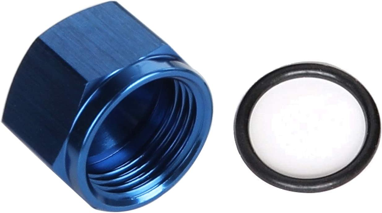 AC PERFORMANCE Black Aluminum Female AN3 Flare Cap with ORB In Stealth 3 AN Hex on End Cap Fitting With O ring Seal Fitting
