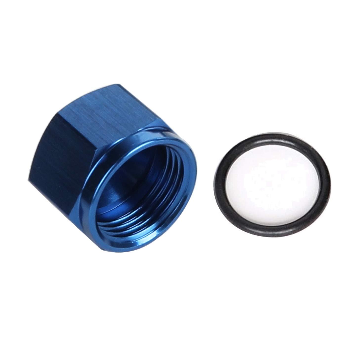 Aluminum Swivel Female 4AN AN4 Flare Cap For Hose Thread Hex Head Port Fitting Black
